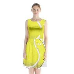 Tennis Ball Ball Sport Fitness Sleeveless Waist Tie Chiffon Dress
