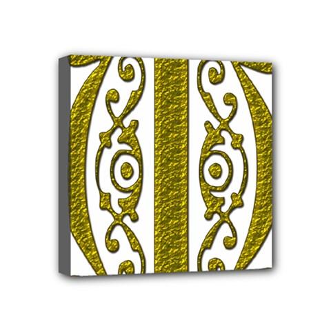 Gold Scroll Design Ornate Ornament Mini Canvas 4  x 4