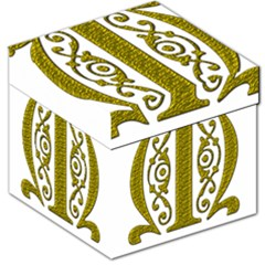 Gold Scroll Design Ornate Ornament Storage Stool 12