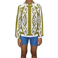 Gold Scroll Design Ornate Ornament Kids  Long Sleeve Swimwear