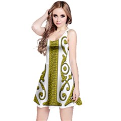 Gold Scroll Design Ornate Ornament Reversible Sleeveless Dress