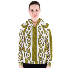 Gold Scroll Design Ornate Ornament Women s Zipper Hoodie