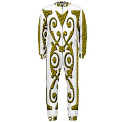 Gold Scroll Design Ornate Ornament Onepiece Jumpsuit (men)