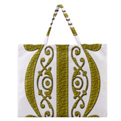 Gold Scroll Design Ornate Ornament Zipper Large Tote Bag