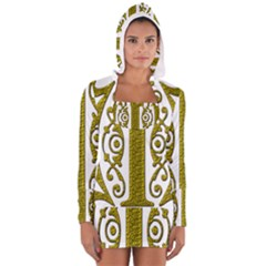 Gold Scroll Design Ornate Ornament Women s Long Sleeve Hooded T-shirt