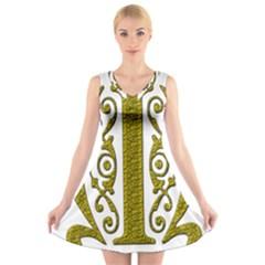 Gold Scroll Design Ornate Ornament V Neck Sleeveless Skater Dress