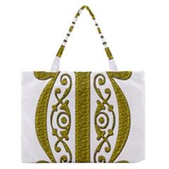 Gold Scroll Design Ornate Ornament Medium Zipper Tote Bag
