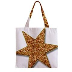 Star Glitter Zipper Grocery Tote Bag