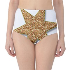 Star Glitter High-Waist Bikini Bottoms