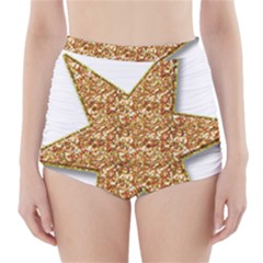 Star Glitter High-Waisted Bikini Bottoms