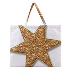 Star Glitter Zipper Large Tote Bag