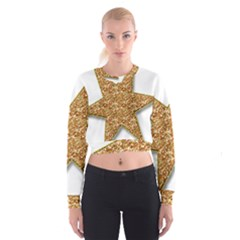 Star Glitter Cropped Sweatshirt