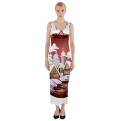 Christmas Decor Christmas Ornaments Fitted Maxi Dress