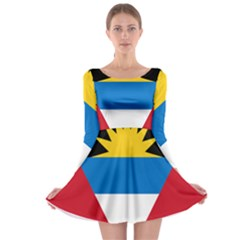 Banner Flag Sun Line Chevron Red White Black Blue Long Sleeve Skater Dress