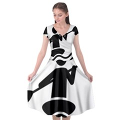 Cropped Kayak Graphic Race Paddle Black Water Sea Wave Beach Cap Sleeve Wrap Front Dress
