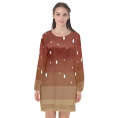 Fawn Gender Flags Polka Space Brown Long Sleeve Chiffon Shift Dress