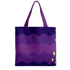 Glimragender Flags Wave Waves Chevron Purple Blue Star Yellow Space Zipper Grocery Tote Bag