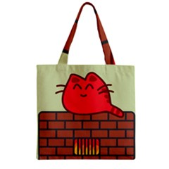 Happy Cat Fire Animals Cute Red Zipper Grocery Tote Bag