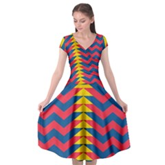 Lllustration Geometric Red Blue Yellow Chevron Wave Line Cap Sleeve Wrap Front Dress