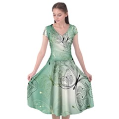 Glass Splashback Abstract Pattern Butterfly Cap Sleeve Wrap Front Dress