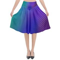 Galaxy Blue Purple Flared Midi Skirt