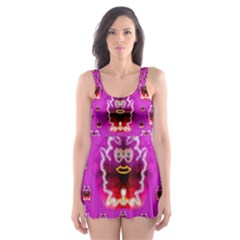 A Cartoon Named Okey Want Friends And Freedom Skater Dress Swimsuit