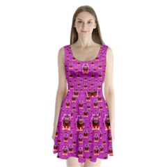 A Cartoon Named Okey Want Friends And Freedom Split Back Mini Dress