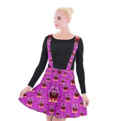 A Cartoon Named Okey Want Friends And Freedom Suspender Skater Skirt