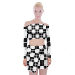 Plaid Black White Off Shoulder Top with Skirt Set