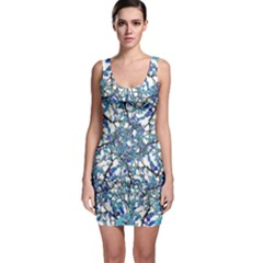 Modern Nouveau Pattern Sleeveless Bodycon Dress