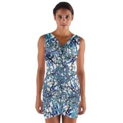Modern Nouveau Pattern Wrap Front Bodycon Dress