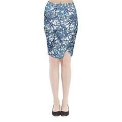 Modern Nouveau Pattern Midi Wrap Pencil Skirt
