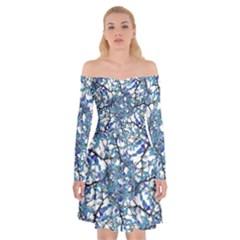 Modern Nouveau Pattern Off Shoulder Skater Dress