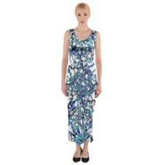 Modern Nouveau Pattern Fitted Maxi Dress
