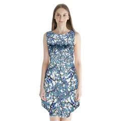 Modern Nouveau Pattern Sleeveless Chiffon Dress