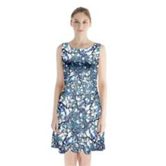 Modern Nouveau Pattern Sleeveless Waist Tie Chiffon Dress