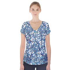 Modern Nouveau Pattern Short Sleeve Front Detail Top