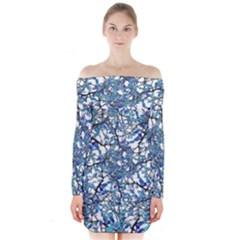 Modern Nouveau Pattern Long Sleeve Off Shoulder Dress