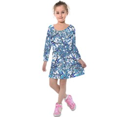 Modern Nouveau Pattern Kids  Long Sleeve Velvet Dress