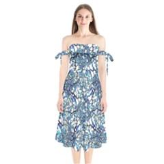 Modern Nouveau Pattern Shoulder Tie Bardot Midi Dress