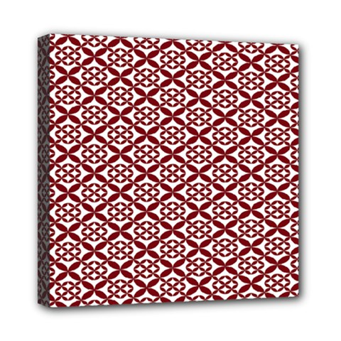 Pattern Kawung Star Line Plaid Flower Floral Red Mini Canvas 8  X 8