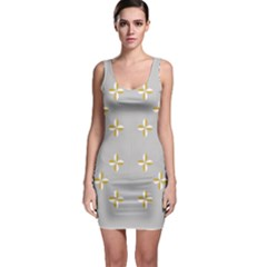 Syrface Flower Floral Gold White Space Star Sleeveless Bodycon Dress