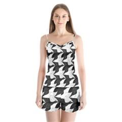 Swan Black Animals Fly Satin Pajamas Set