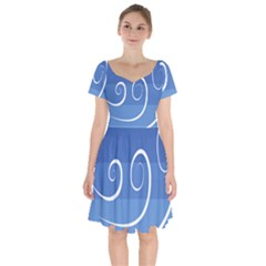 Ventigender Flags Wave Waves Chevron Leaf Blue White Short Sleeve Bardot Dress