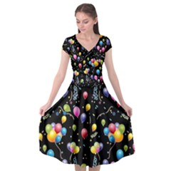 Balloons   Cap Sleeve Wrap Front Dress