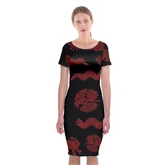 Aztecs Pattern Classic Short Sleeve Midi Dress