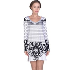 Transparent Lace Decoration Long Sleeve Nightdress