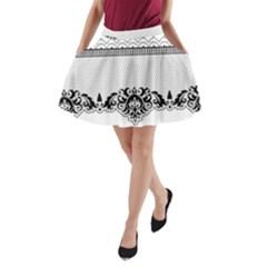 Transparent Lace Decoration A Line Pocket Skirt