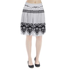 Transparent Lace Decoration Pleated Skirt