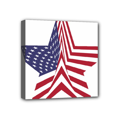 A Star With An American Flag Pattern Mini Canvas 4  x 4